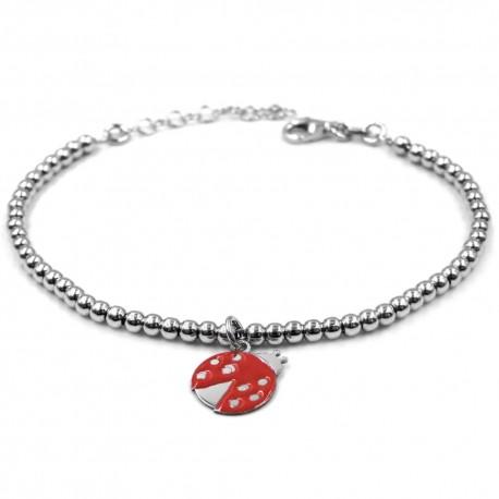 Sterling Silver Bracelet with Customizable Ladybug Medal