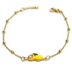 Gold Plated 925 Sterling Silver Lemons Anklet