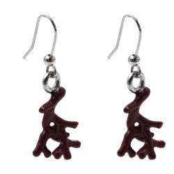 Enamelled Sterling Silver Coral Earrings
