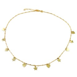Gold Plated Sterling Silver Stars and Hearts Necklace