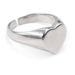 Sterling Silver Heart Shaped Chevalier Ring