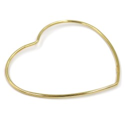 Gold Plated 925 Sterling Silver Heart Bangle Bracelet