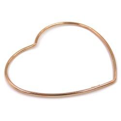 Rose Gold Plated 925 Sterling Silver Heart Bangle Bracelet