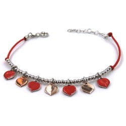 Red Bracelet with Heart Pendants