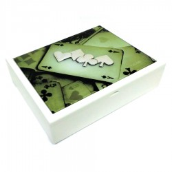 Playing Cards Wooden Box With Decorated Glass Cover