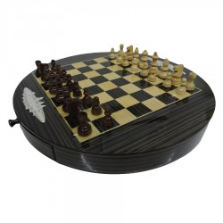 Wooden Chessboard with Silver Applications