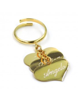 Customizable 3 Heart Pendants Gold Plated Sterling Silver Ring
