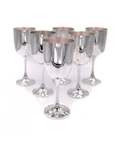 Solid Silver Wine Glasses Set of 6