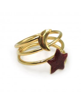 Gold Plated Sterling Silver Moon Star Ring