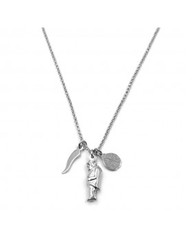 925 Sterling Silver Necklace with Lucky Charm Pendants