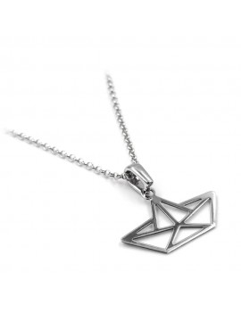 925 Sterling Silver Origami Boat Necklace