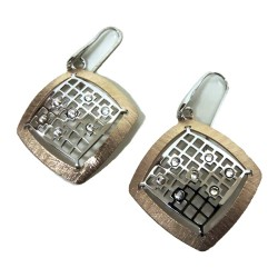 925 Sterling Silver Copper Colored Pendant Earrings Rhombus With White Zircons by Damiano Argenti