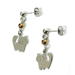925 Sterling Silver Cat Earrings by Damiano Argenti