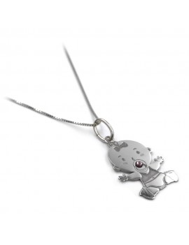 Sterling Silver Necklace with Baby Girl Pendant and Pink Zircon