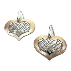 925 Sterling Silver Copper Colored Pendant Earrings With White Zircons by Damiano Argenti