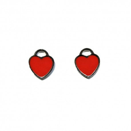 925 Sterling Silver Heart Earrings Enamelled Color Turquoise Red Black