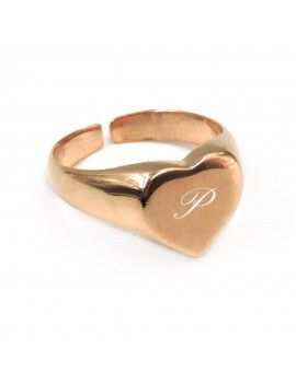 Pink Gold Plated Sterling Silver Heart Shaped Chevalier Ring