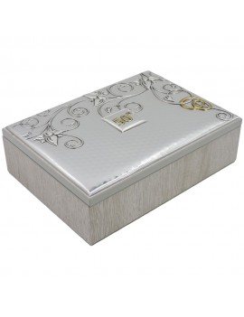 50th Anniversary Wooden Jewelry Box with Silver Cover