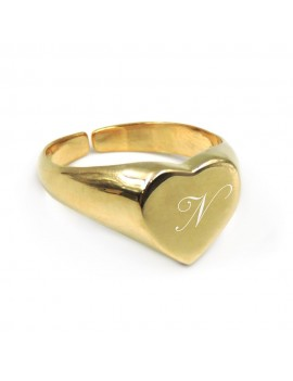 Gold Plated Sterling Silver Heart Shaped Chevalier Ring