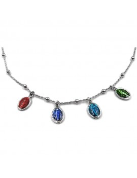 Necklace with Enamelled Virgin of Lourdes Medals