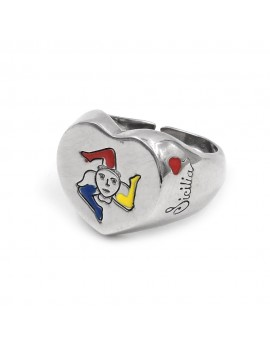 Sterling Silver Heart Shaped Sicilian Trinacria Ring