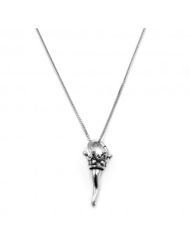 Sterling Silver Crowned Lucky Horn Necklace