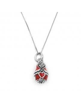 Matryoshka Enamelled Sterling Silver Necklace