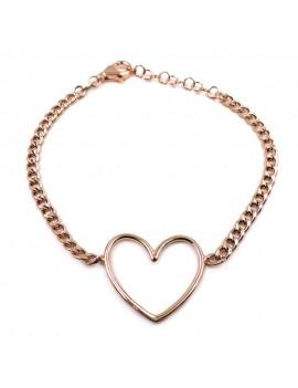 Rose Gold Plated Sterling Silver Heart Gourmette Bracelet
