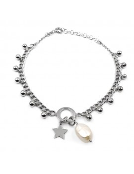 925 Sterling Silver Bracelet with Pearl and Star Pendant
