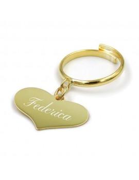 Anello Ciondolo Cuore Personalizzabile in Argento 925 Placcato Oro