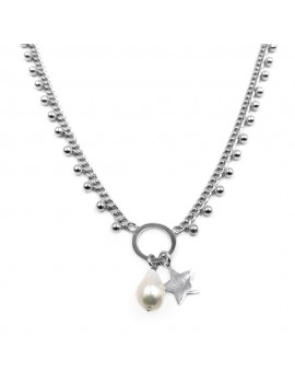 Sterling Silver Necklace with Freshwater Pearl and Star