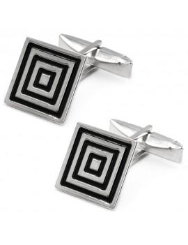 925 Sterling Silver Spiral Square Cufflinks
