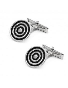 925 Sterling Silver Spiral Round Cufflinks
