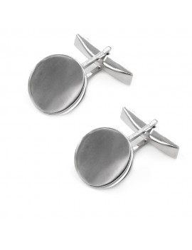 Personalized 925 Sterling Silver Round Cufflinks