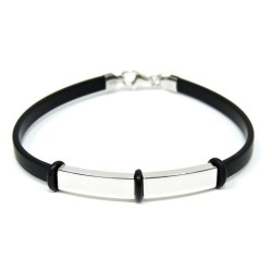 925 Sterling Silver and Rubber Bracelet Double Strap  by Damiano Argenti