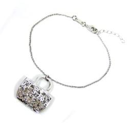 925 Sterling Silver Rhodium Handbag Bracelet