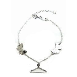 925 Sterling Silver Rhodium Bracelet with Hanger and Bows Pendants