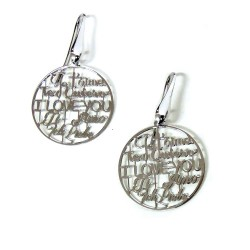 925 Sterling Silver I Love You Earrings by Damiano Argenti