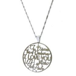 Collana in Argento 925 Con Ciondolo Ti Amo in tutte le Lingue