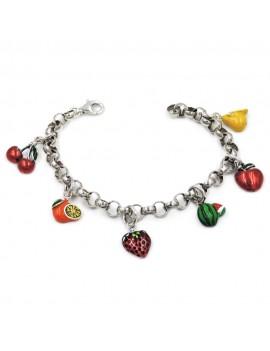 Enamelled 925 Sterling Silver Fuits Bracelet