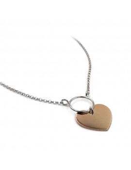 Rose Gold Plated 925 Sterling Silver Heart Ring Necklace