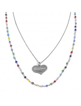 Gold Plated 925 Sterling Silver Necklace with Heart Medal Pendant
