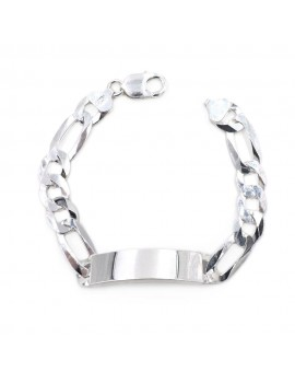 925 Sterling Silver Cuban Bracelet with Customizable Plate