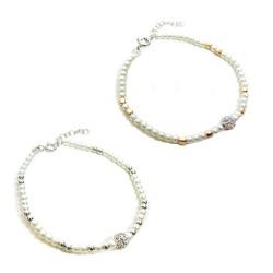 Bracciale in Argento 925 e Perline con Sfera Zirconata