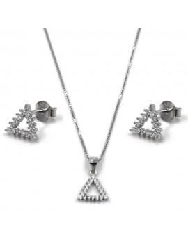 Triangle Necklace and Earrings Set