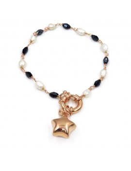 Star Bracelet with Pearls and Blue Zircons
