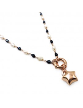 Rose Gold Plated Sterling Silver Star Necklace with Pearls