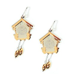 925 Sterling Silver Cuckoo Clock Earrings  by Damiano Argenti