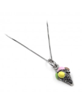Enamelled Sterling Silver Ice Cream Necklace
