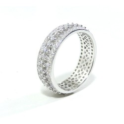 925 Sterling Silver Ring with Three Lines of White Zircons by Damiano Argenti